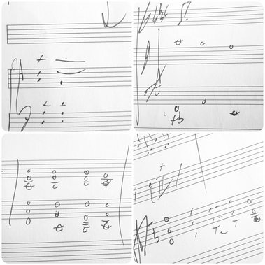 Rough sketches on manuscript for album number six